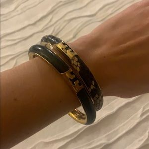 Tory Burch leather and gold bangles